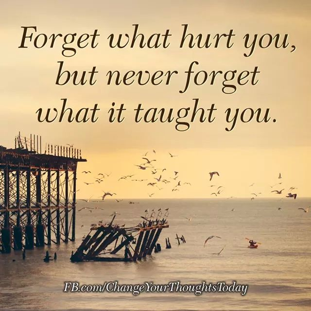 Forget what hurt you, but never forget what it taught you  Archibald J Holtz...